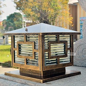 Meidn Cristal retro estilo victoriano linterna Europea fundición de aluminio de pedestal luz E27 aire libre del patio jardín de luz Vintage Garden Villa Bolardos de luz Iluminación de la decoración ex: