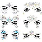COKOHAPPY 6 Sets Noctilucent Face Jewels Tattoo Rhinestone Mermaid - Body Stickers Glow in the Dark Luminous Face Gems Fluore