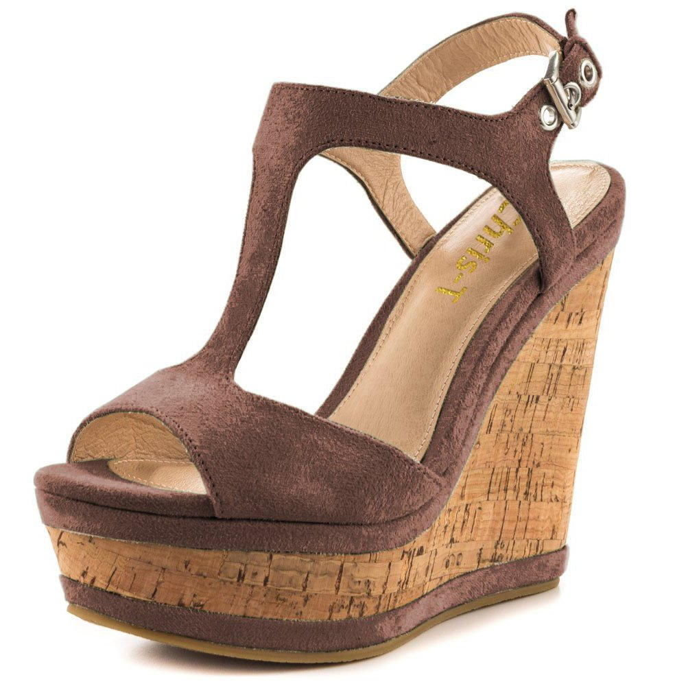 Chris-T Women's Wedges Sandals High Platform Open Toe Ankle Strap Party Shoes B07D4GV1PV 8 B(M) US|Brown S