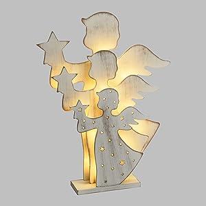 Xmas King Figuras concéntricas Luminosas a Pilas de Ángelitos de Madera h. 35 cm, LED Blanco cálido, como Decoración navideña