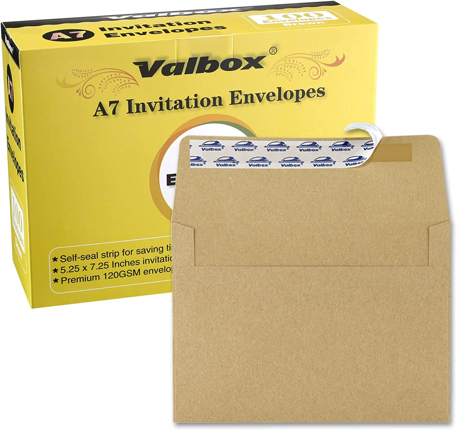 ValBox 100 Qty A7 Invitation Envelopes 5 x 7, 120GSM Brown Kraft Paper Envelopes for 5x7 Cards, Self Seal, Weddings, Invitations, Baby Shower, Stationery, Office, 5.25 x 7.25 Inches : Office Products