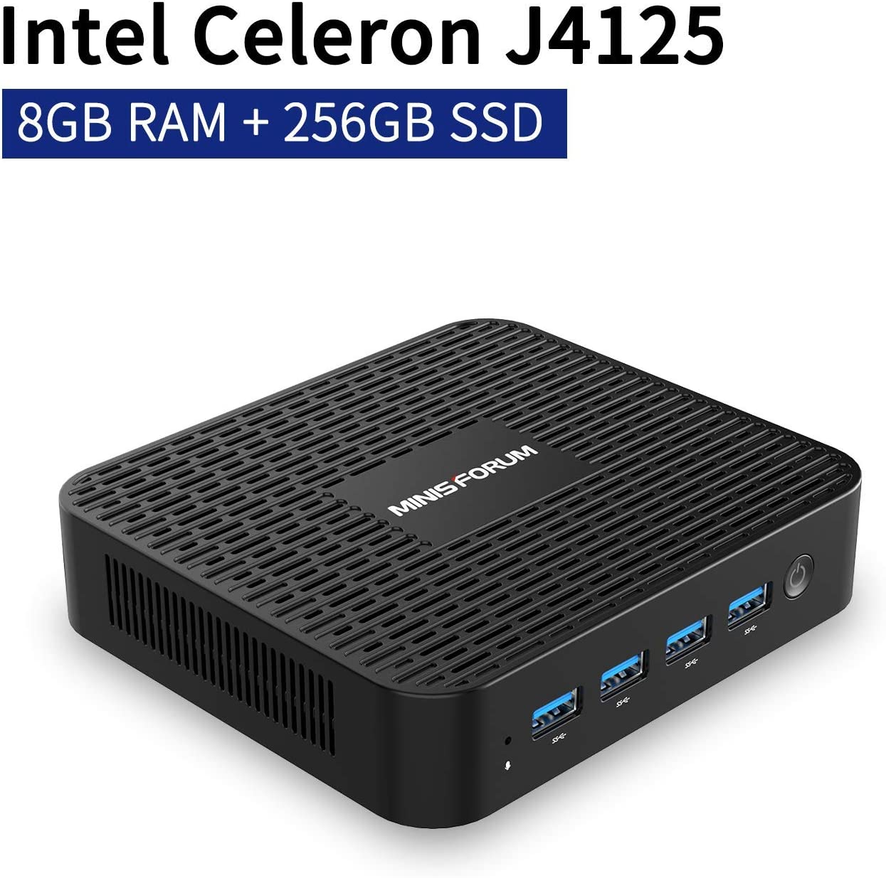 Mini PC Windows 10 Pro 8GB LPDDR4 256GB SSD Intel Celeron J4125(up to 2.7GHz), Quad Core, HDMI&DP 4K@60Hz Outputs, 2X Gigabit Ethernet, 4X USB 3.0, Dual Band WiFi, Support PXE Boot, Auto Power On
