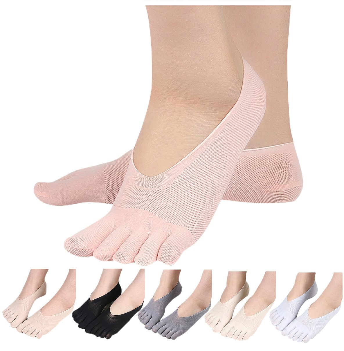 HONOW Women's No Show Toe Socks Invisible Liner Summer Casual (Pack of 6), Style 5