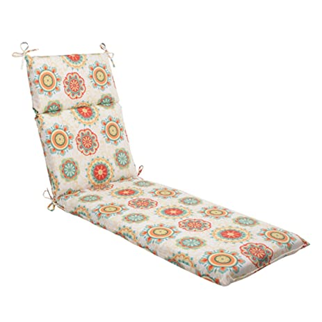 72.5u0026quot; Retro Floral Medallion Outdoor Patio Chaise Lounge Cushion