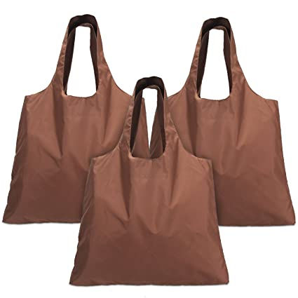 Luxja Reusable Shopping Bags Set of 3, Foldable Grocery Bags with Attached Pouch, Washable, Durable and Lightweight, Coffee