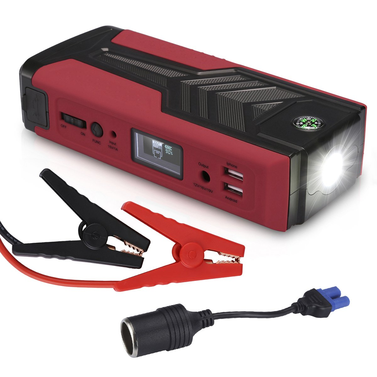 FLOUOREN 500A 18, 000mAh Car Starter Jump Starter Car Battery Charger Booster Power Bank with Dual USB/DC Output Jump Start 12V Automotive Motorcycle Boat - Red FLOUREON
