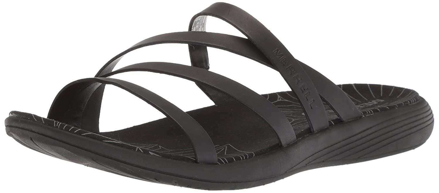 Merrell Women's Duskair Seaway Leather Slide Sandal B072JH3H8N 11 B(M) US|Black
