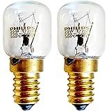 Philips - Juego de 2 bombillas pequeñas de rosca para microondas u hornos > 300 ºC, 25 W, SES, E14