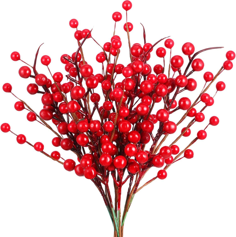 20 Piezas Tallos de Ramita de Bayas de Navidad Flores Artificiales Bayas de Invierno Manojo de Arándanos Falsos para Decoración de Árbol de Navidad y Manualidades