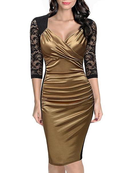 MIUSOL Vintage Donna Vestito Pizzo Elegante Anni 50 Abito Slim Vestiti Da  Sera Oro Medium  Amazon.it  Abbigliamento 447eca50163