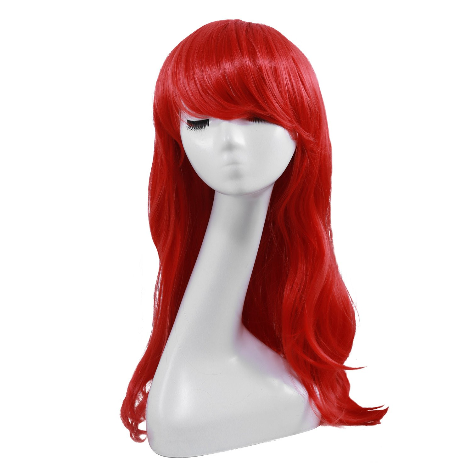 Wavy Anime Cosplay Wig Niulun Red Curly Wig With Inclined Bangs Synthetic Cosplay Daily Party Wig for Women Natural Looking