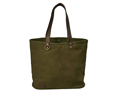 29490f4559b8 Work Tote Bags For Women, Waxed Canvas & Leather Tote Bag: Khaki Green  Laptop