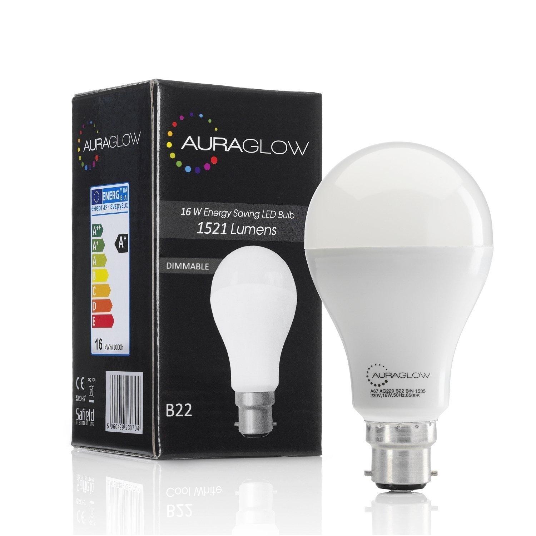 Auraglow Super Bright 20w Led B22 Bayonet Light Bulb Cool White How To Build Ultra Lamp 16w 6500k 1521