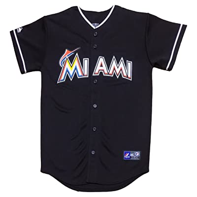 OuterStuff Miami Marlins Blank Black Youth Authentic Alternate Jersey