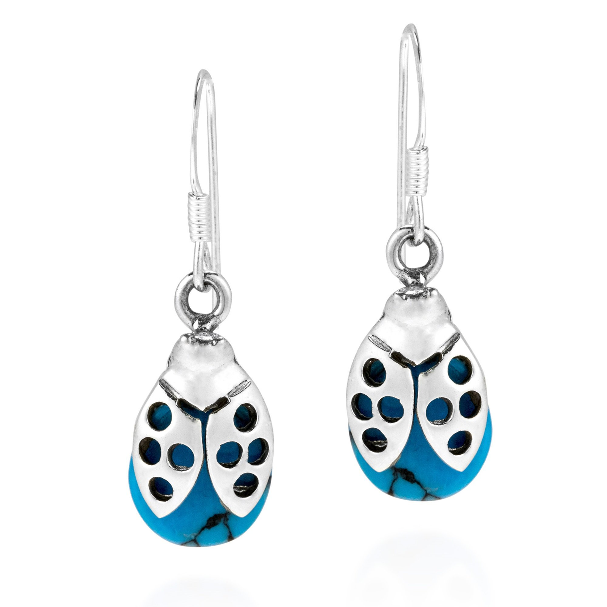 Summer Love Ladybug Simulated Turquoise Stone .925 Sterling Silver Earrings