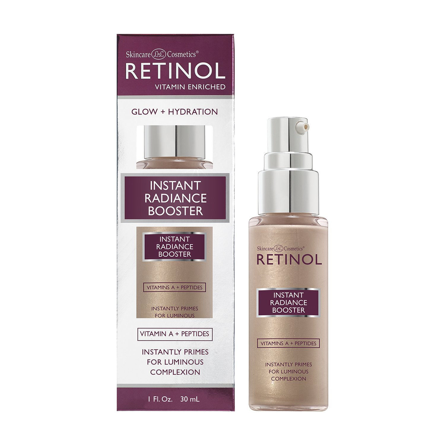 Retinol Instant Radiance Booster – The Original Retinol Glow Primer – A Burst of Anti-Aging Hydration Adds Luminosity & Skin-Smoothing Benefits of Vitamin A – Peptides Improve Firmness & Tone