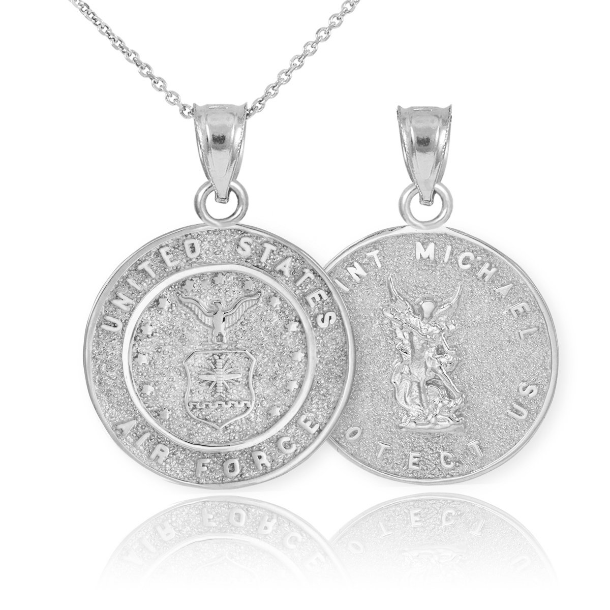 Reversible 10k White Gold St Michael Medal Protection Charm US Air Force Pendant Necklace, 22''
