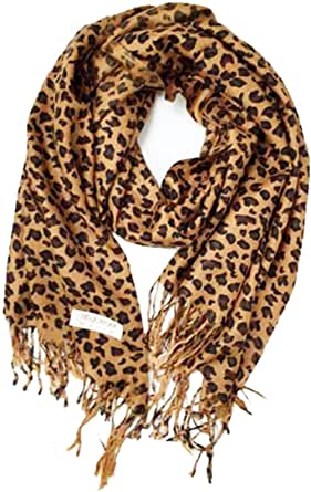 Animal Print Fringed Shoulder Pashmina Feel Wrap Scarf - Leopard Patterns