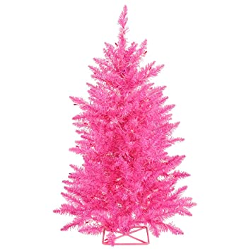 Amazon.com: Vickerman Hot Pink Christmas Tree with 35 Pink Mini ...