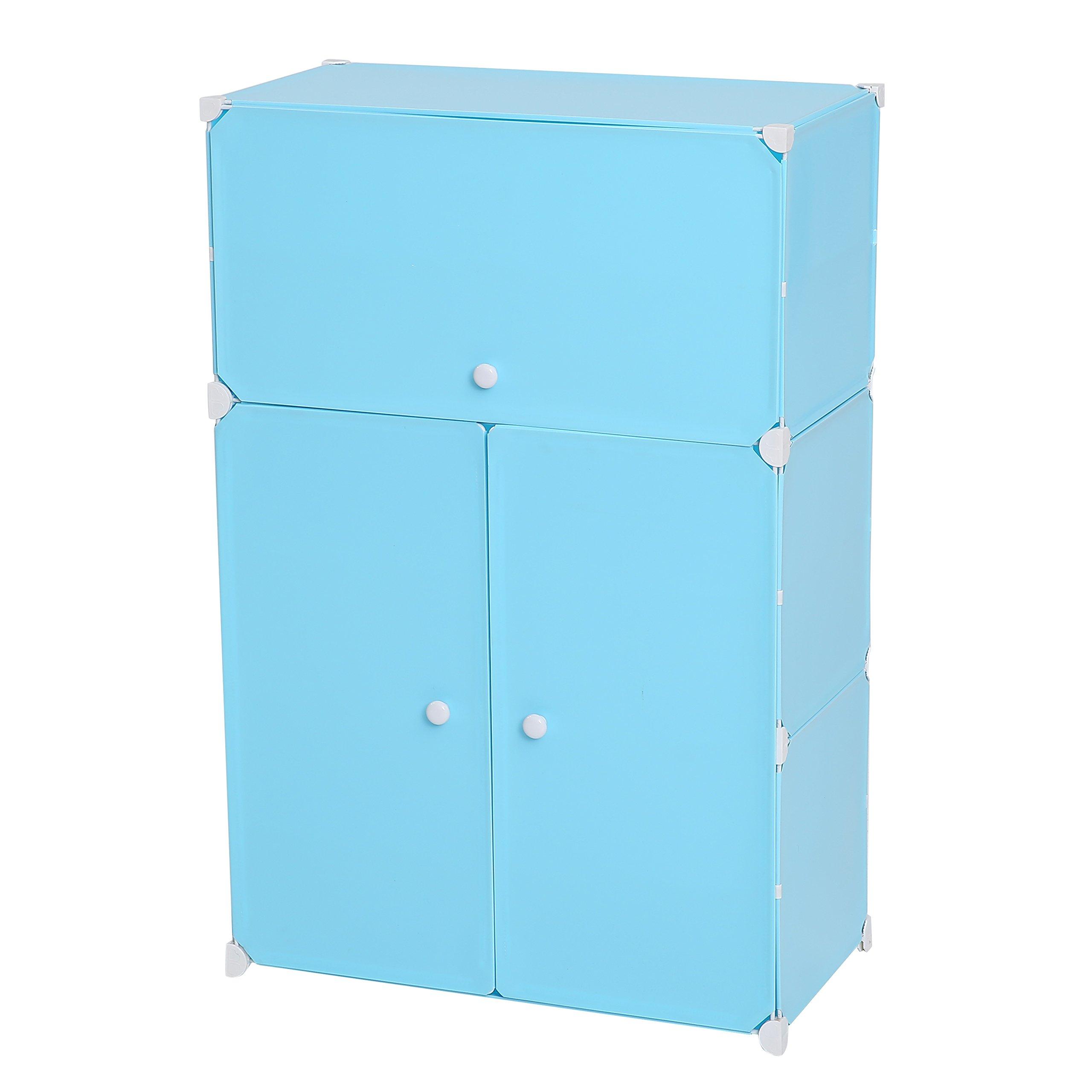 C&AHOME DIY Plastic 6 Cube Shoe Rack, Organizer, Bookcase, Shoe Cabinets Organizer Storage Plastic Drawers Blue with Doors
