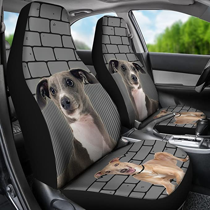 InterestPrint Auto Seat Protector 2 Pack Dog Paw Prints Puppy Bone Hearts Tile Car