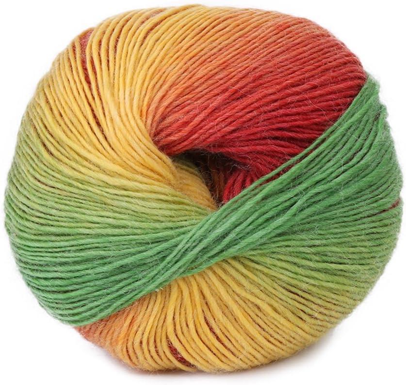 YiFeiCT 1 Balle 50g Tiss/é /à La Main Arc En Ciel Color/é M/élange De Laine M/élange De Laine De Cachemire /à Tricoter