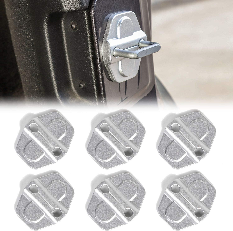 Voodonala for Jeep JL JT ABS Black Door Lock Covers Protection Trim for 2018-2020 Jeep Wrangler JL JLU Gladiator JT 6PCS