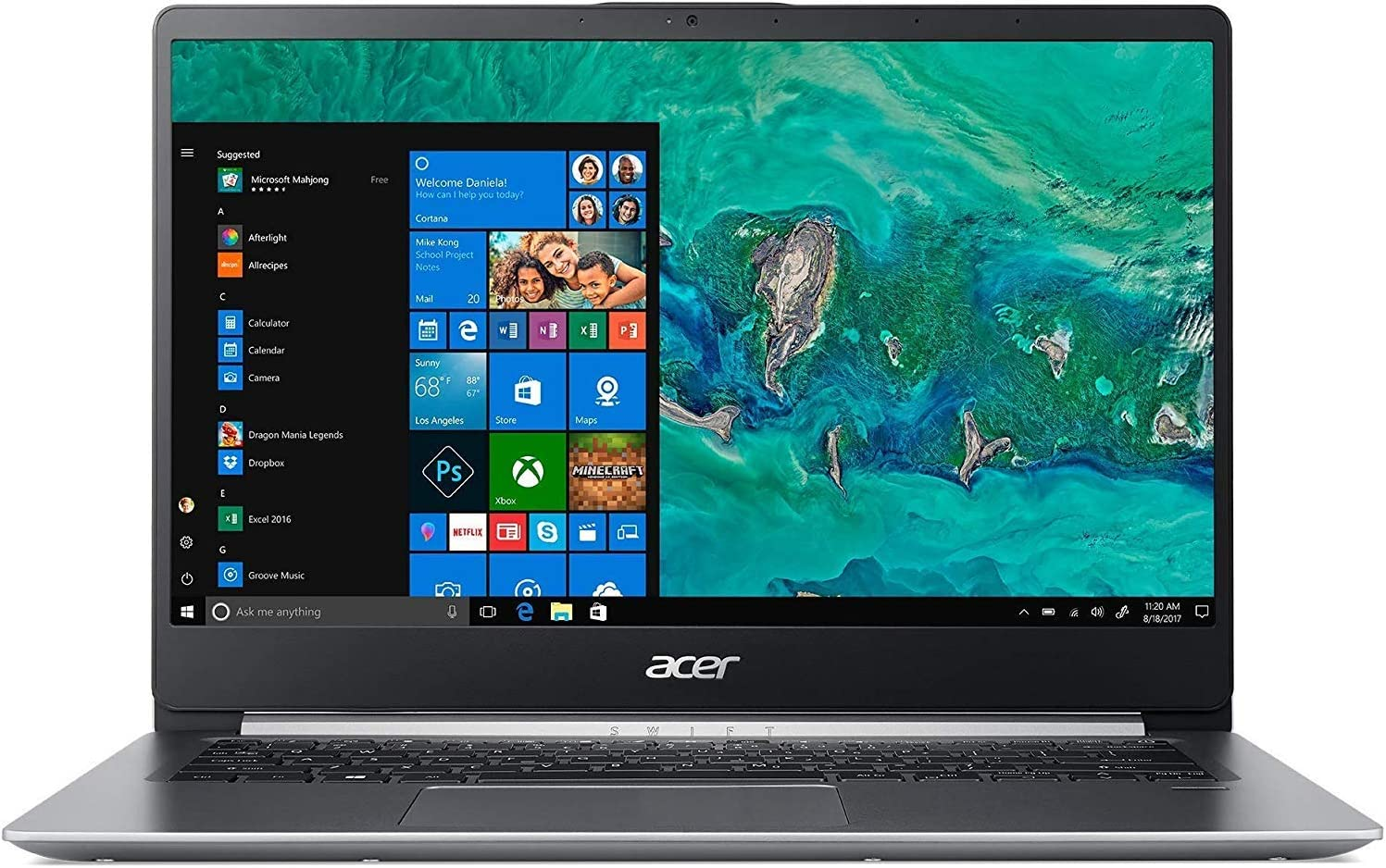 "Acer Swift 1, 14"" Full HD Notebook, Intel Pentium Silver N5000, 4GB, 64GB HDD, SF114-32-P2PK (Renewed)"