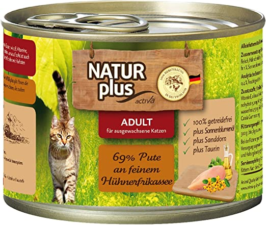 natural Plus gato Forro Adult con 69% Pute a fina hügne fricasé (getreidefrei) – 6 x 200 g: Amazon.es: Productos para mascotas