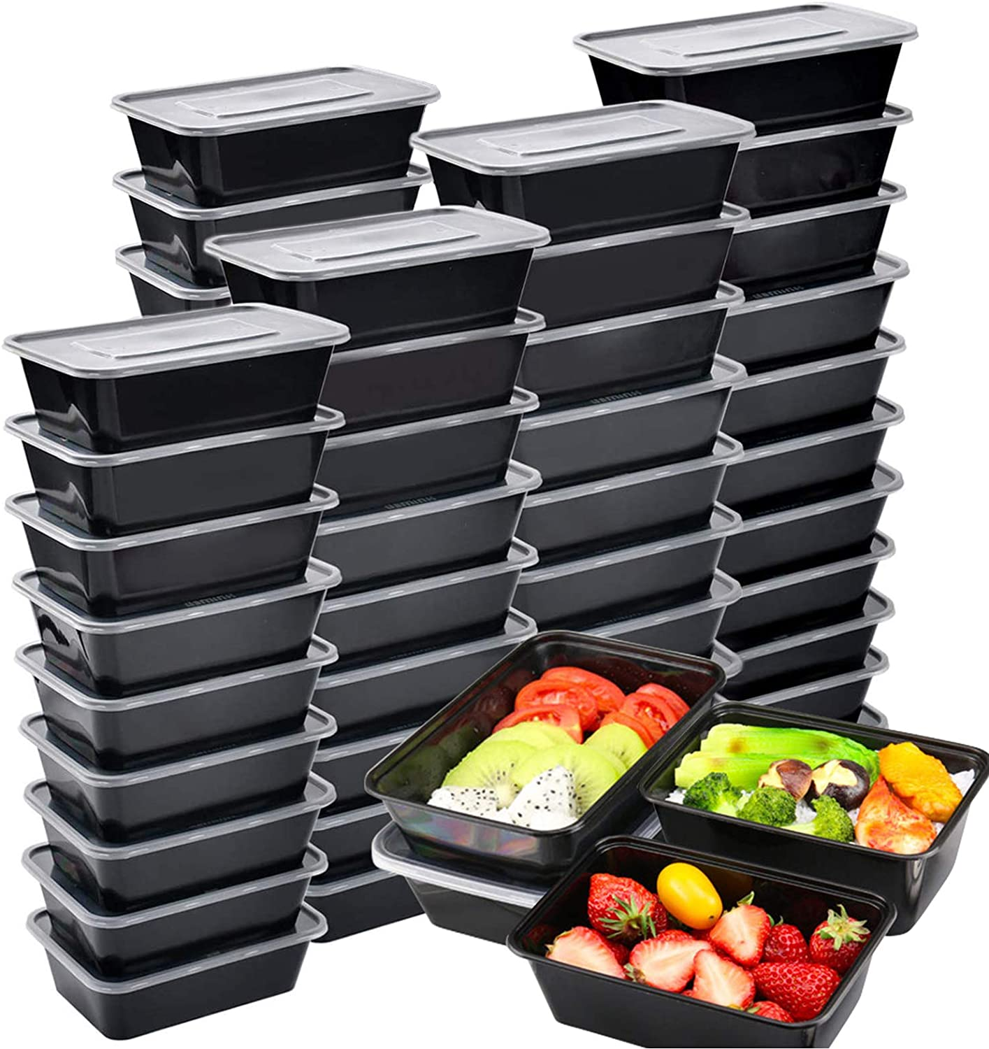 Meal Prep Containers 50pk, Plastic Salad Lunch Food Storage Container with Lids, Disposable Bento Boxes Freezer Frozen Meals Containers, Reusable Healthy Box for Dishwasher Safe(750ML/ 26 OZ)