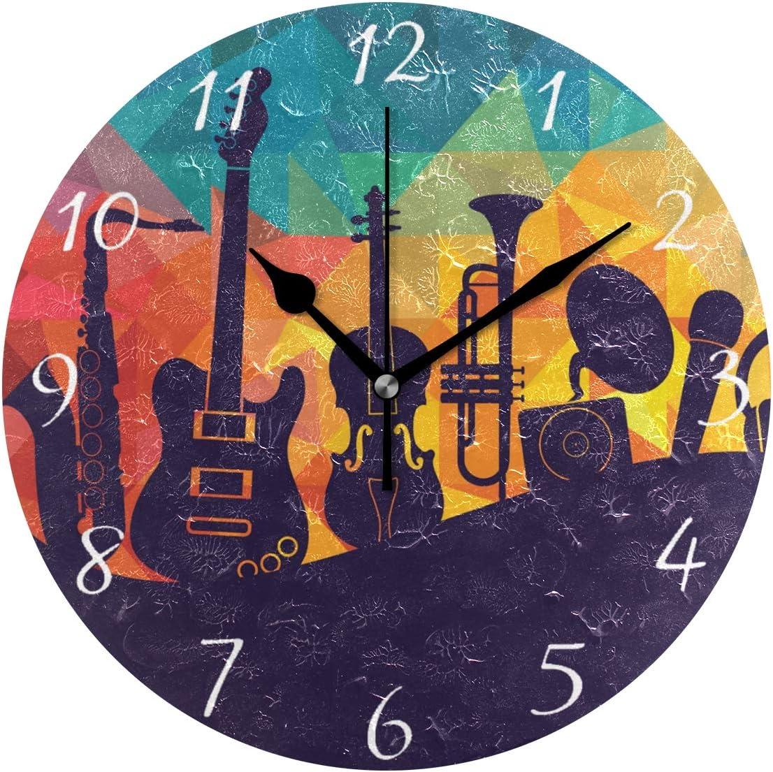 Ahomy - Reloj de Pared Redondo con diseño de Guitarra y Auriculares, Incluye 1 Pila AA (no incluida): Amazon.es: Hogar