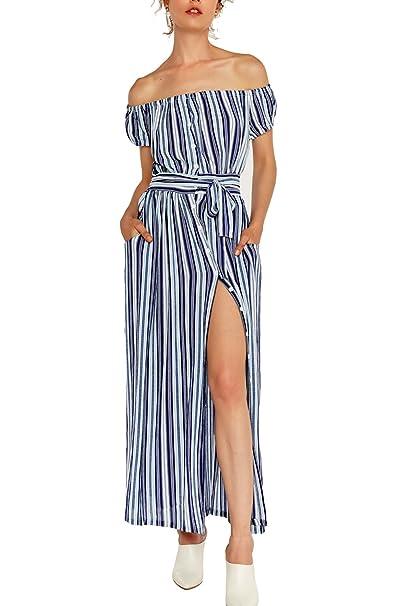 Vestido rayas azul mujer