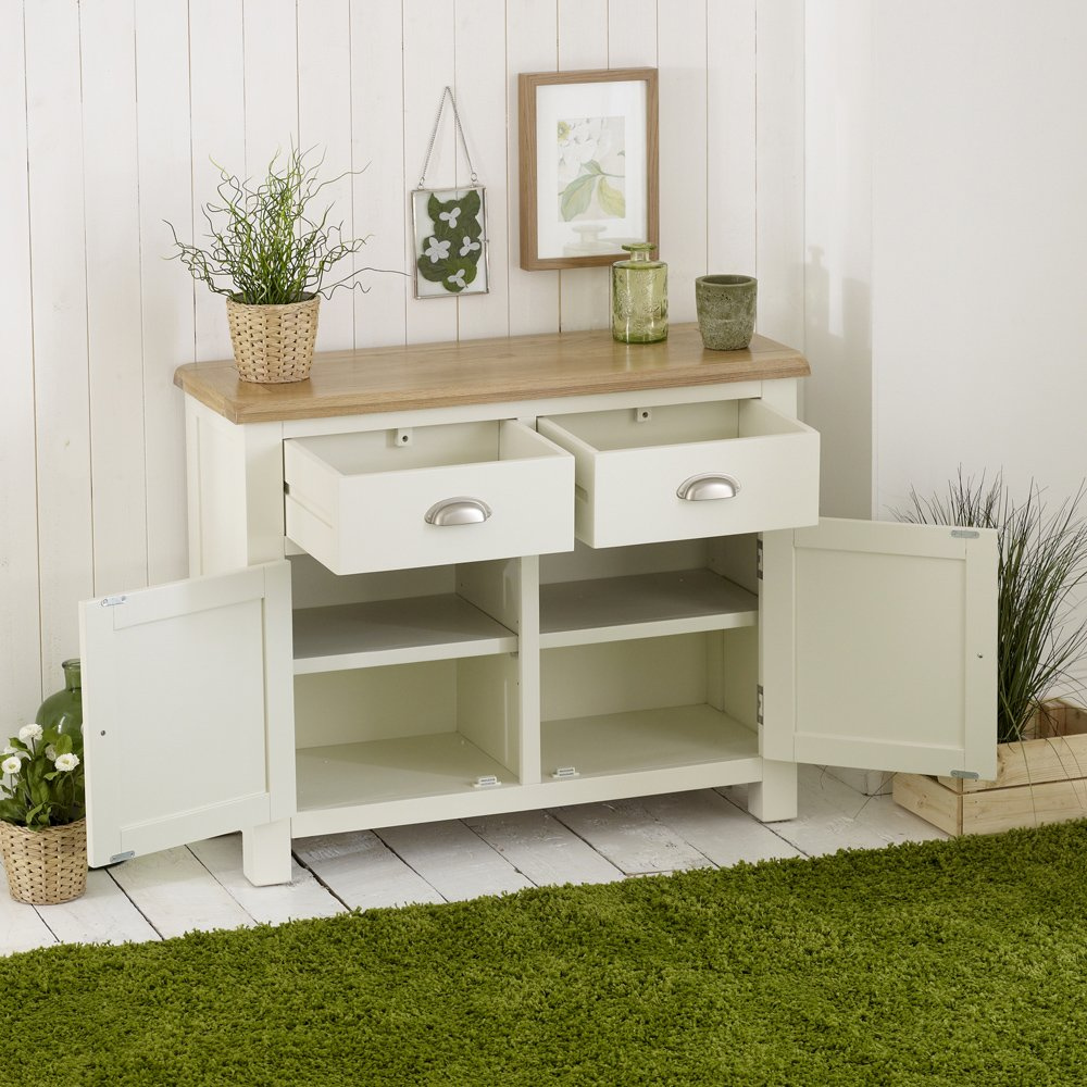 The Furniture Market Cotswold Cream Painted 2 Door 2 Drawer Medium Sideboard Oak Top