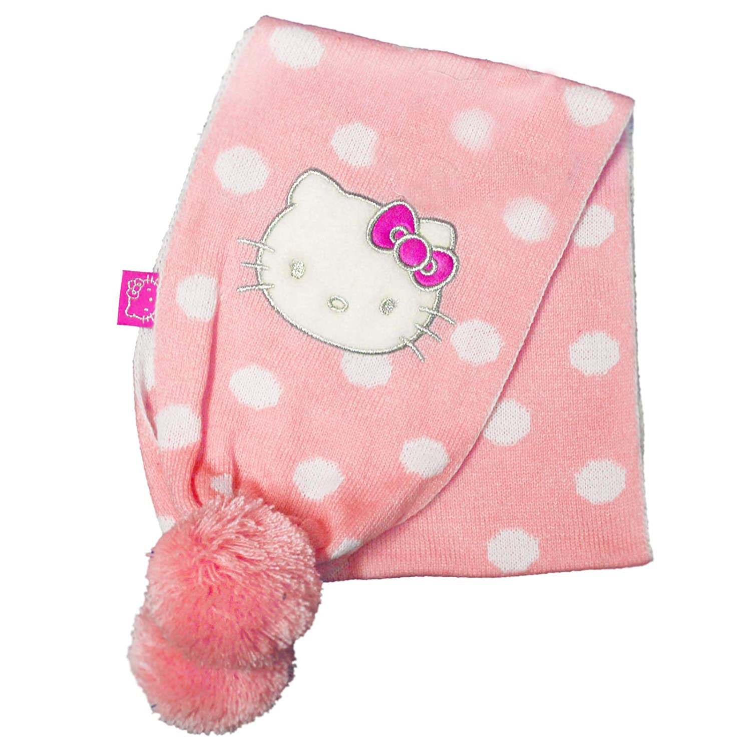 Official Licensed Girl's Hello Kitty Baby Pink Polka Dot Scarf Scarves