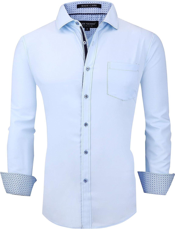 Alex Vando Mens Dress Shirts Wrinkle Free Regular Fit Stretch Bamboo Men Shirt