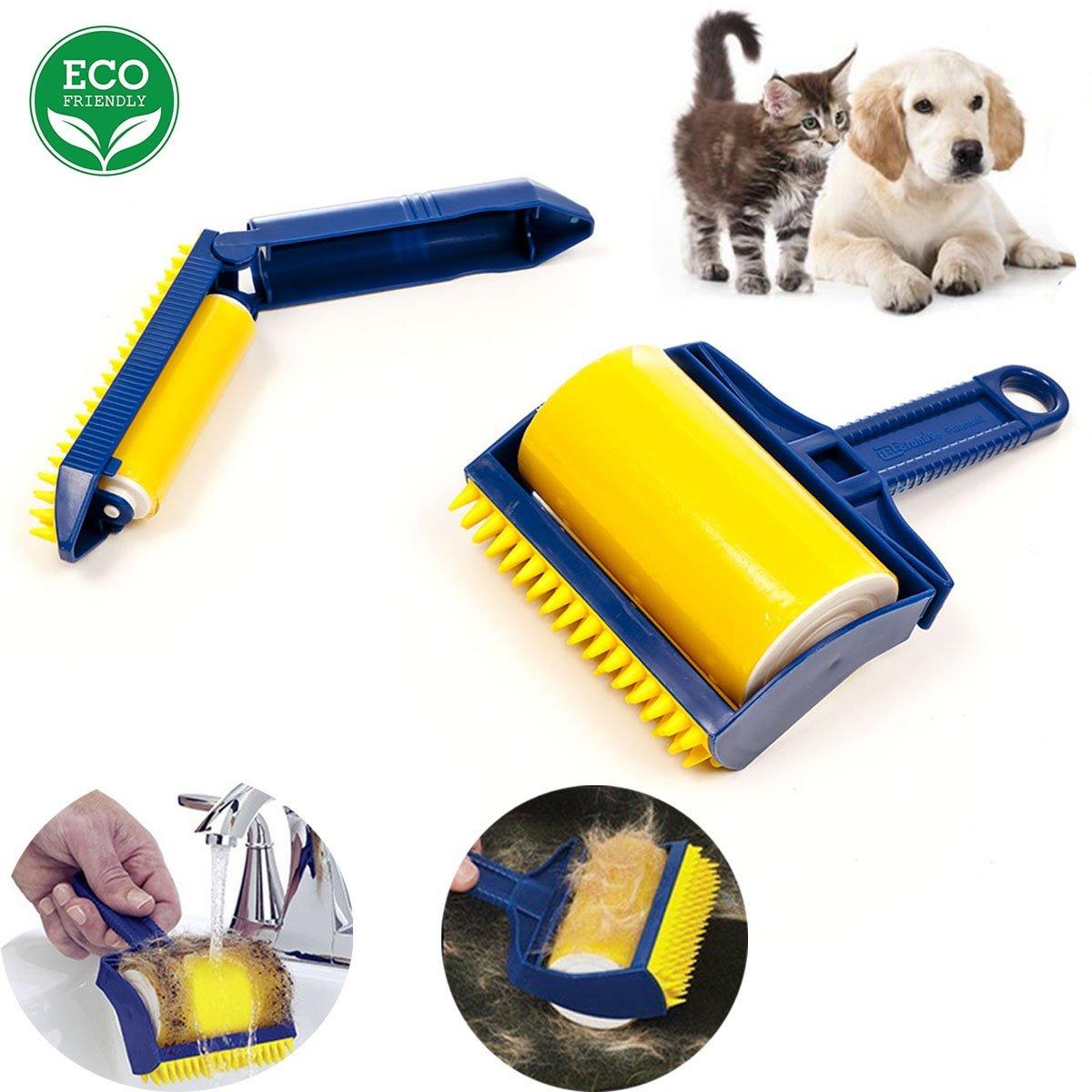 (2er Pack)Fusselrolle Wiederverwendbarer Tierhaar-Entferner, Abwaschbare bürstendes Sofa klebrige Haarrolle zwei Sätze klebriges Staubtuch - Gelb wexe.com