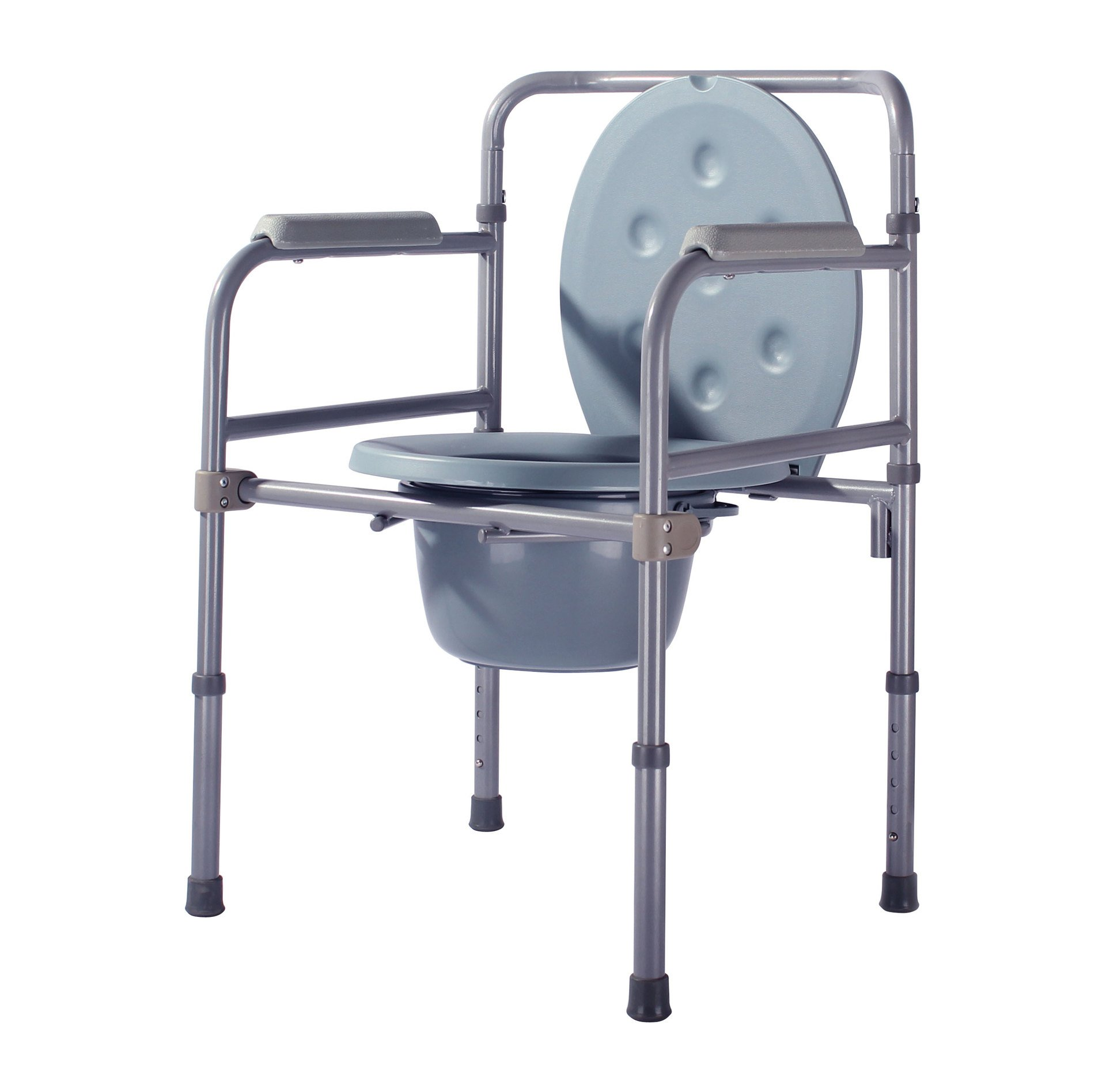 Drive Medical Bedside Commode Steel Commode Woman Disabled Elderly Mobile Toilet Seat Chair gray