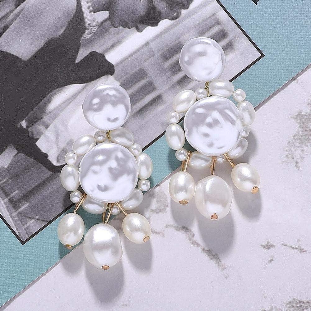 Pendientes de aleación de moda Pendientes colgantes de perlas simuladas blancas hechas a mano para mujeres Pendientes de perlas grandes de moda