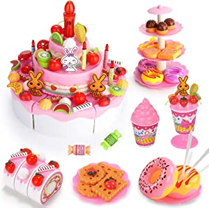 Temi Pretend Birthday Cake, DIY 113 PCS Decorating Party Play Food Toys Set w/ Candles Fruit Dessert Stand, Educational Kitchen Toy for Kids, Children, Toddlers, Boys & Girls, Aged 3 4 5 Year Old