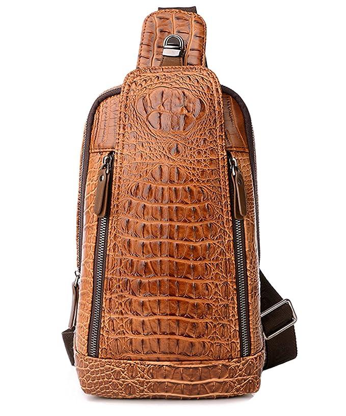 Leathario Herren echtrindleder Brusttasche Brustbeutel Freizeittasche Crossbody Bag Rucksack f/ür Alltag Freizeit und Reisen schwarz