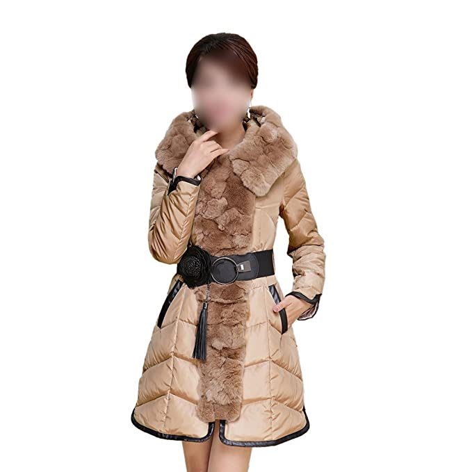 SODIAL(R) Mujeres Nuevos de Invierno delgada de pelo de conejo chaqueta abajo cinturon de cintura con capucha Espesar abrigo Marron - M: Amazon.es: Ropa y ...
