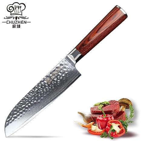 Amazon.com: Cuchillos de cocina santoku cuchillo 7 pulgadas ...