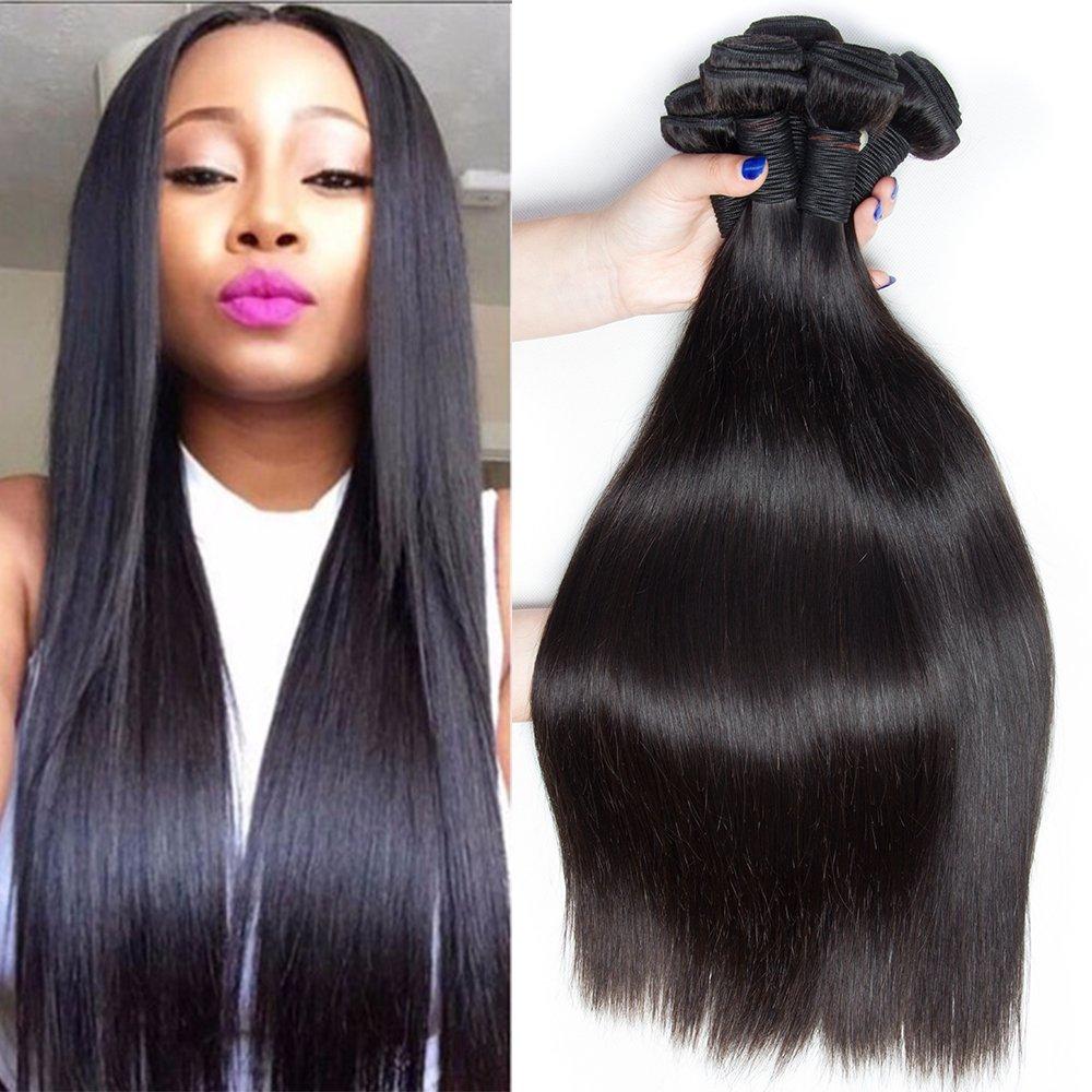 Ali Moda Hair Malaysian Straight Hair 4 bundles Natural Black 100% Human Hair Weave Unprocessed 8-26inch silk straight(10 12 14 16)