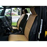 JEEP WRANGLER JK 2007-2012 2DOORS BLACK S.LEATHER CUSTOM MADE FRONT SEAT COVER
