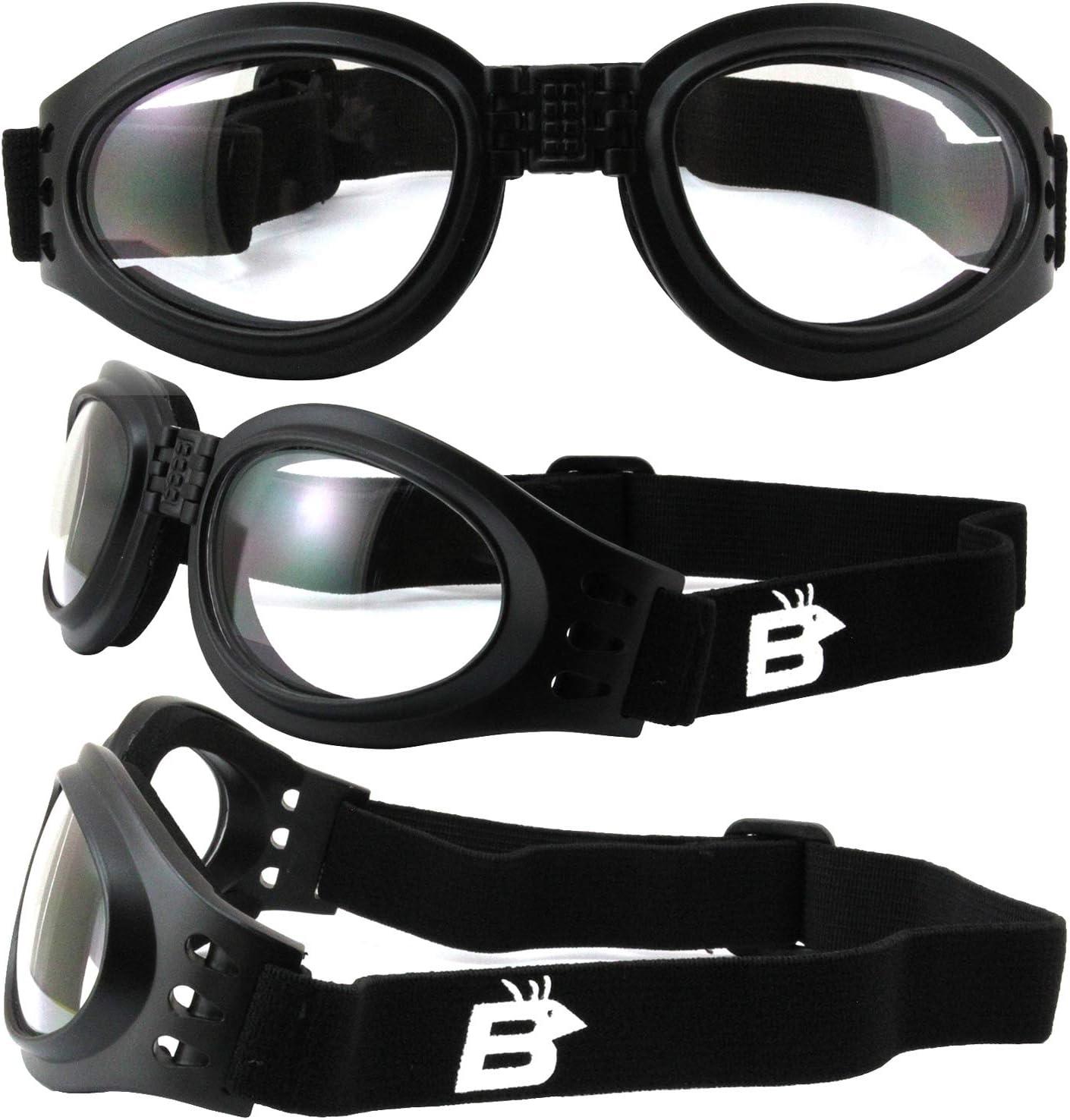 2 Pairs of Birdz Eyewear Parrot Black Padded Motorcycle Goggles Clear /& Smoke Lenses