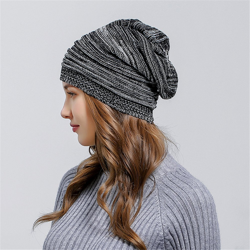 HULKAY Unisex Caps Premium Soft Stretch Pleated Warm Hooded Wool Knitted Hat(Black) by HULKAY (Image #3)