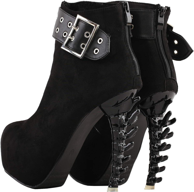 Details about  /Rockabilly Green Flower Print Stud High-top Bone Platform Ankle Boots