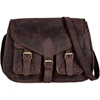KPL 14 Inch Leather Purse Women Shoulder Bag Crossbody Satchel Ladies Tote Travel Purse Genuine Leather (Distressed Tan…
