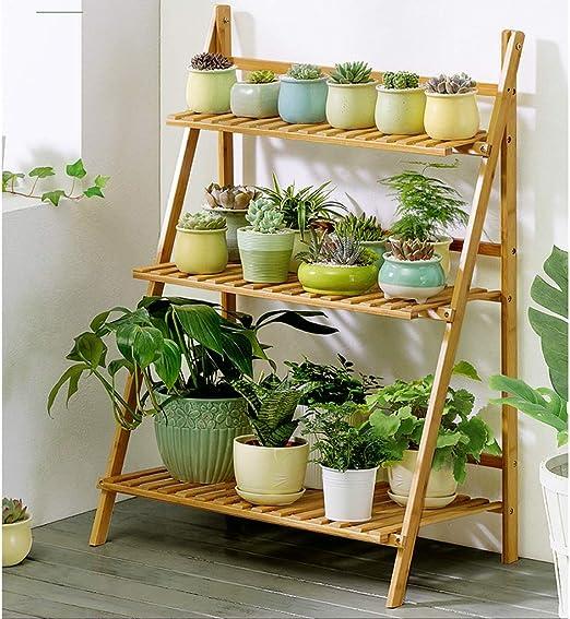 Estanteria para Macetas Soportes de la planta de madera de 3 niveles - Escalera de estante de