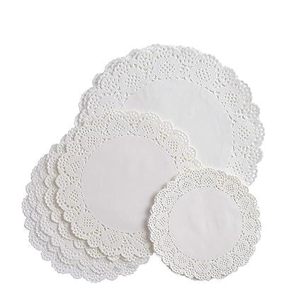 vipith 72 piezas blanco redondo de papel de encaje blondas tarta embalaje bloc de papel para